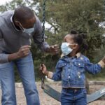 Dad with his daughter at the park wearing face masks